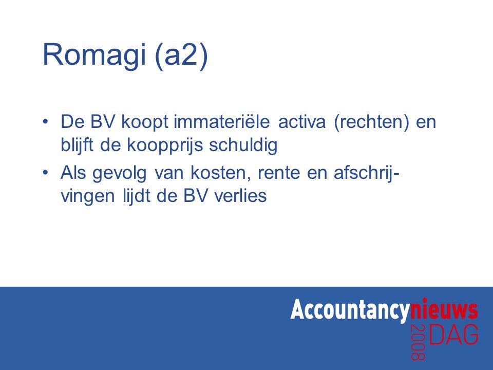 Romagi (a2) De BV koopt immateriële activa (rechten) en blijft de koopprijs schuldig.