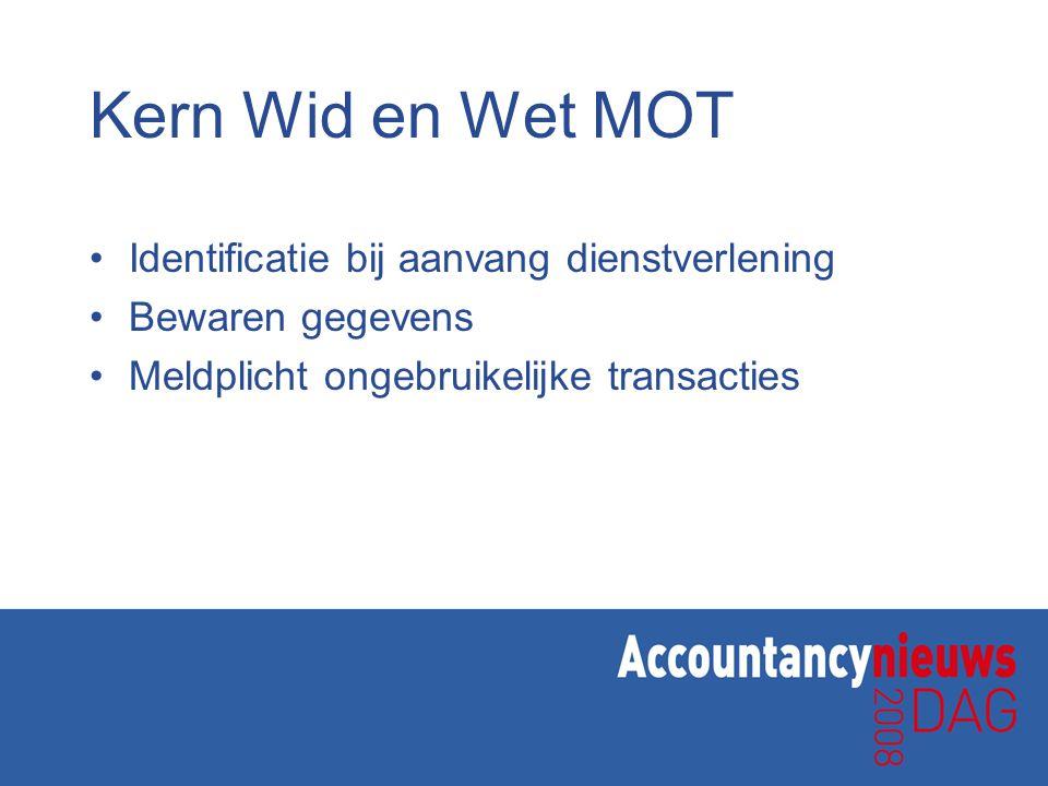 Kern Wid en Wet MOT Identificatie bij aanvang dienstverlening