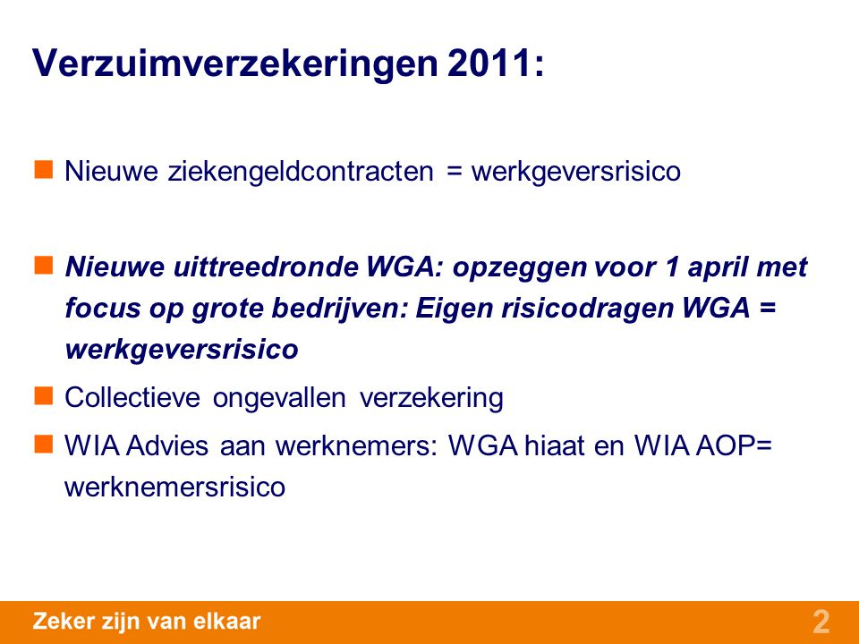 Verzuimverzekeringen 2011: