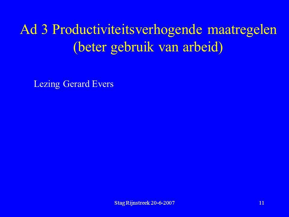 Ad 3 Productiviteitsverhogende maatregelen (beter gebruik van arbeid)