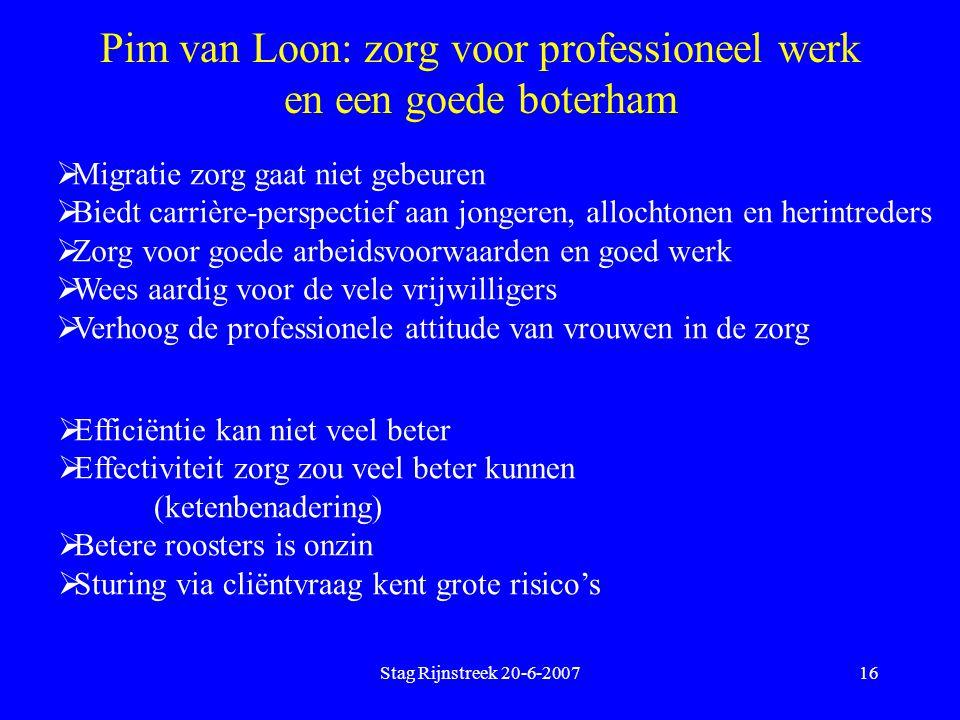 Pim van Loon: zorg voor professioneel werk en een goede boterham