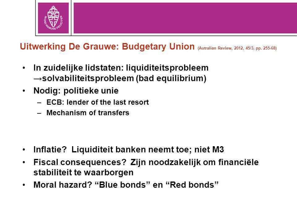 Uitwerking De Grauwe: Budgetary Union (Autralian Review, 2012, 45/3, pp. 255-68)