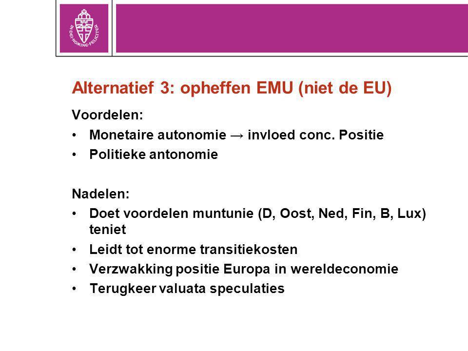 Alternatief 3: opheffen EMU (niet de EU)