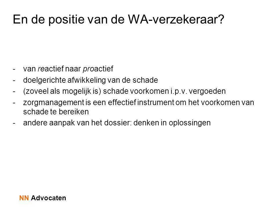 En de positie van de WA-verzekeraar