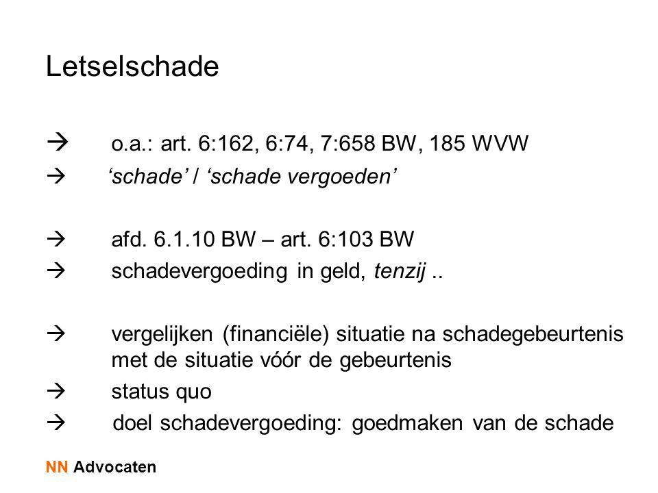 Letselschade o.a.: art. 6:162, 6:74, 7:658 BW, 185 WVW
