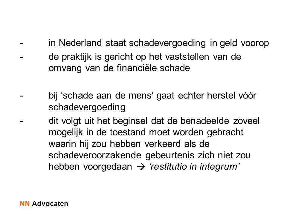 - in Nederland staat schadevergoeding in geld voorop