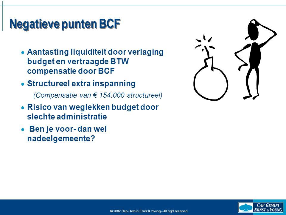 Negatieve punten BCF Aantasting liquiditeit door verlaging budget en vertraagde BTW compensatie door BCF.