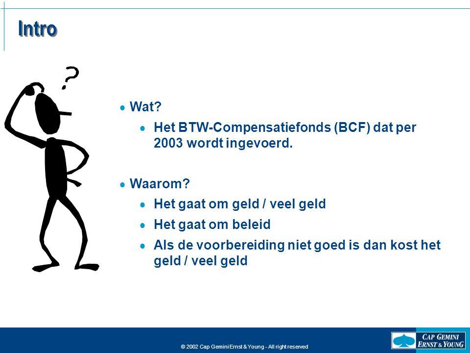 Intro Wat Het BTW-Compensatiefonds (BCF) dat per 2003 wordt ingevoerd. Waarom Het gaat om geld / veel geld.