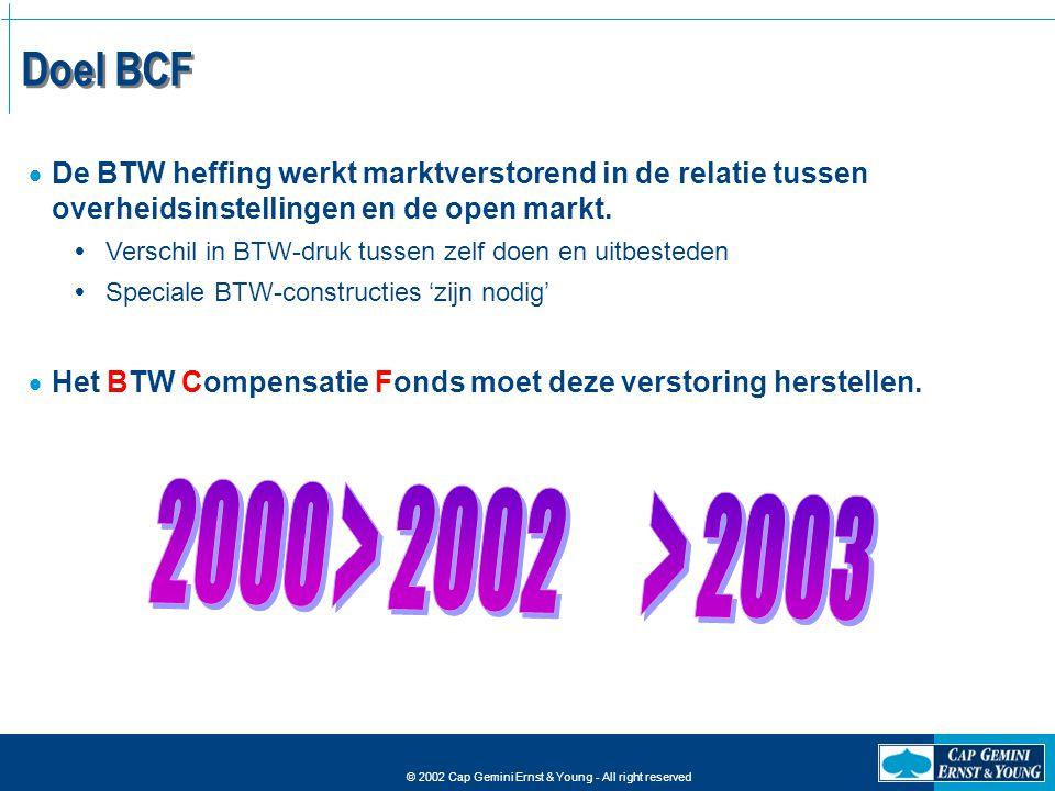 Doel BCF De BTW heffing werkt marktverstorend in de relatie tussen overheidsinstellingen en de open markt.