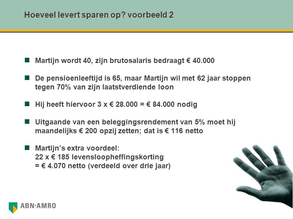 Hoeveel levert sparen op voorbeeld 2