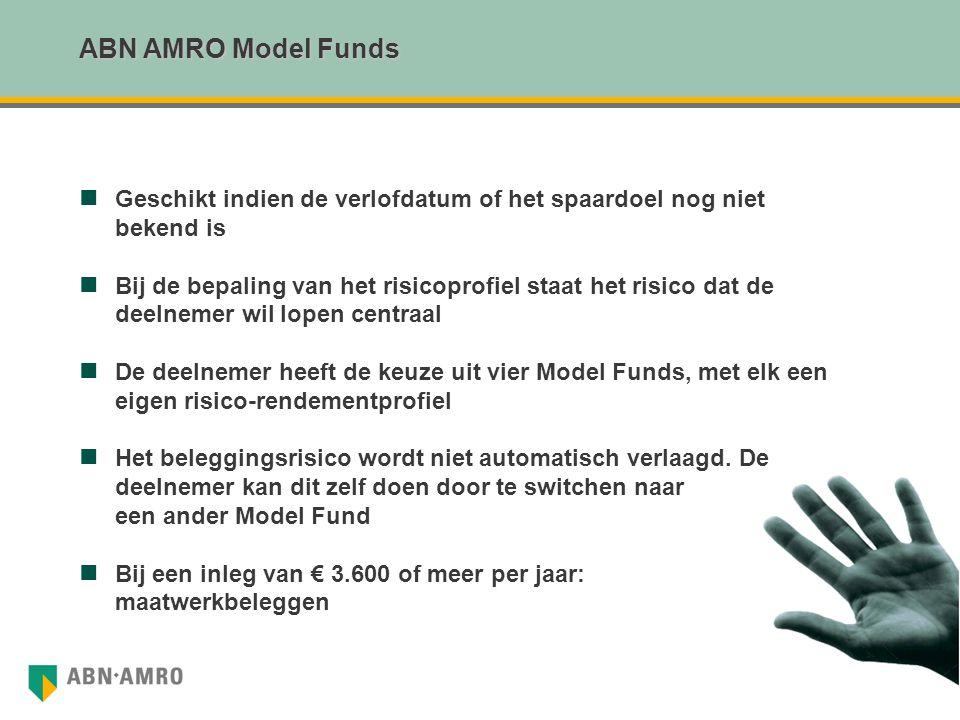 ABN AMRO Model Funds Geschikt indien de verlofdatum of het spaardoel nog niet. bekend is.