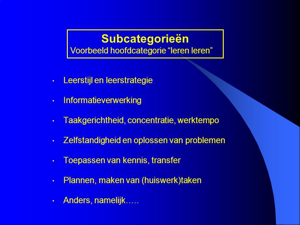 Subcategorieën Voorbeeld hoofdcategorie leren leren
