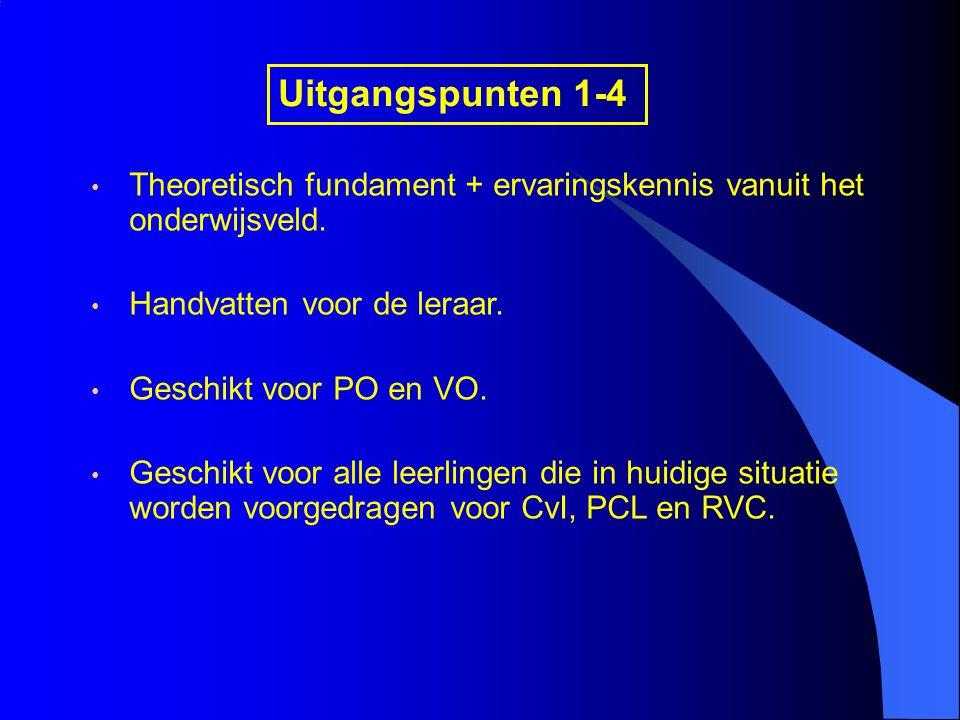 Uitgangspunten 1-4 Theoretisch fundament + ervaringskennis vanuit het onderwijsveld. Handvatten voor de leraar.