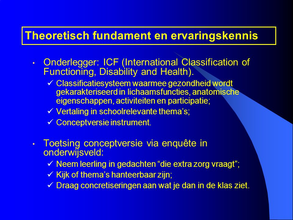 Theoretisch fundament en ervaringskennis