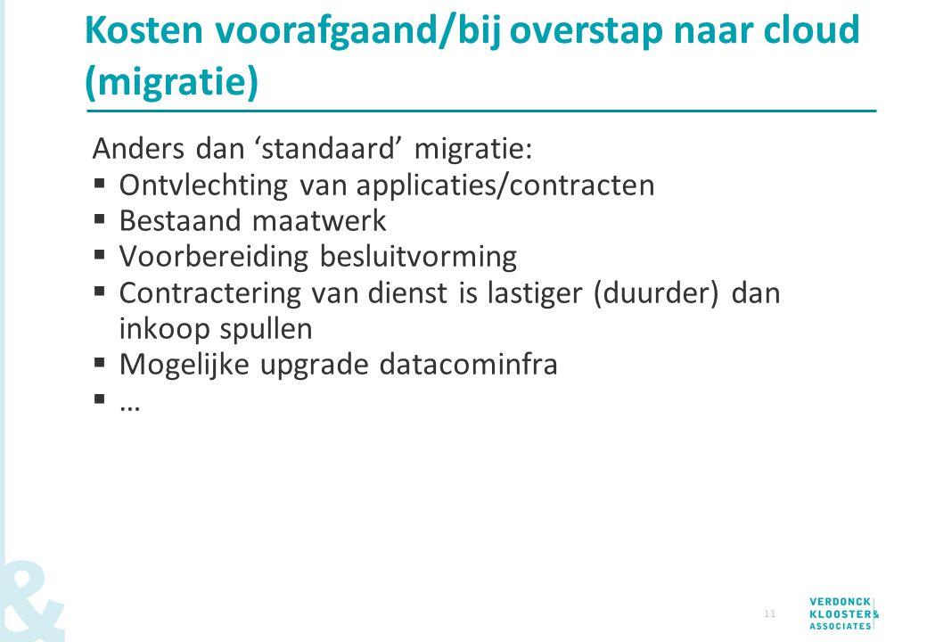 Kosten voorafgaand/bij overstap naar cloud (migratie)
