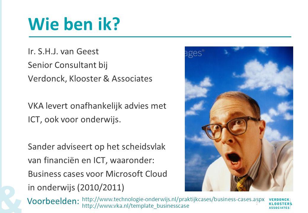 Wie ben ik Ir. S.H.J. van Geest Senior Consultant bij