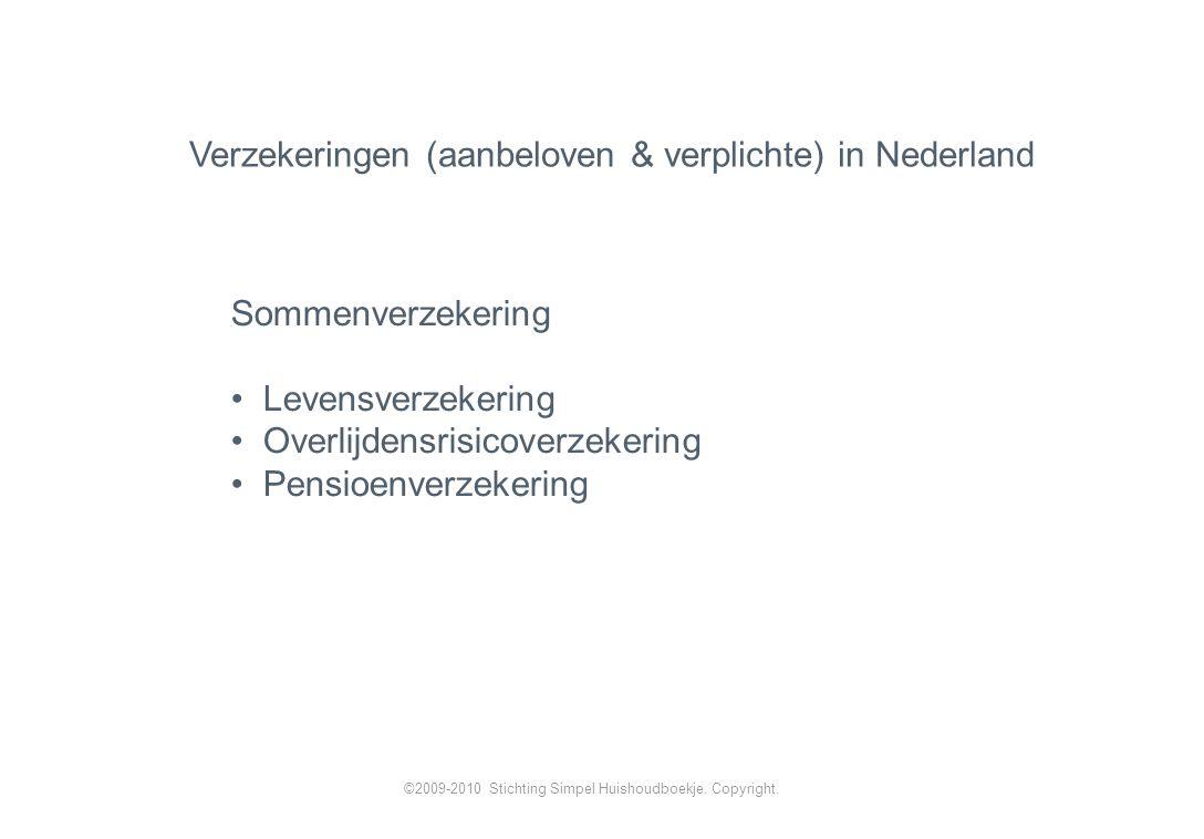 Verzekeringen (aanbeloven & verplichte) in Nederland