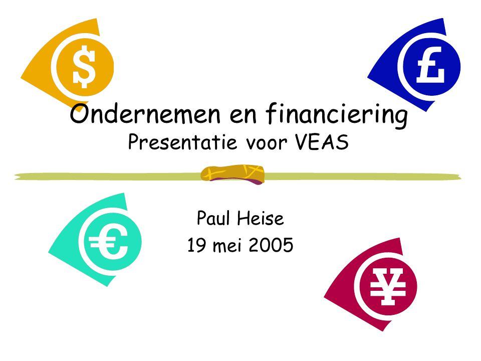 Ondernemen en financiering Presentatie voor VEAS