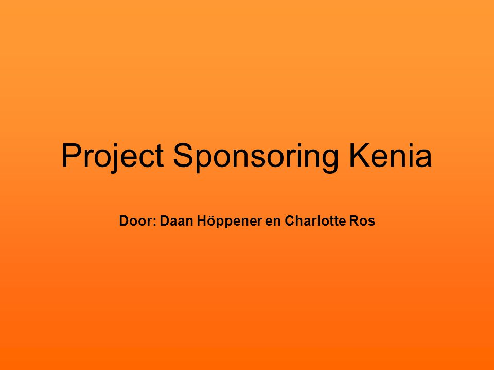Project Sponsoring Kenia