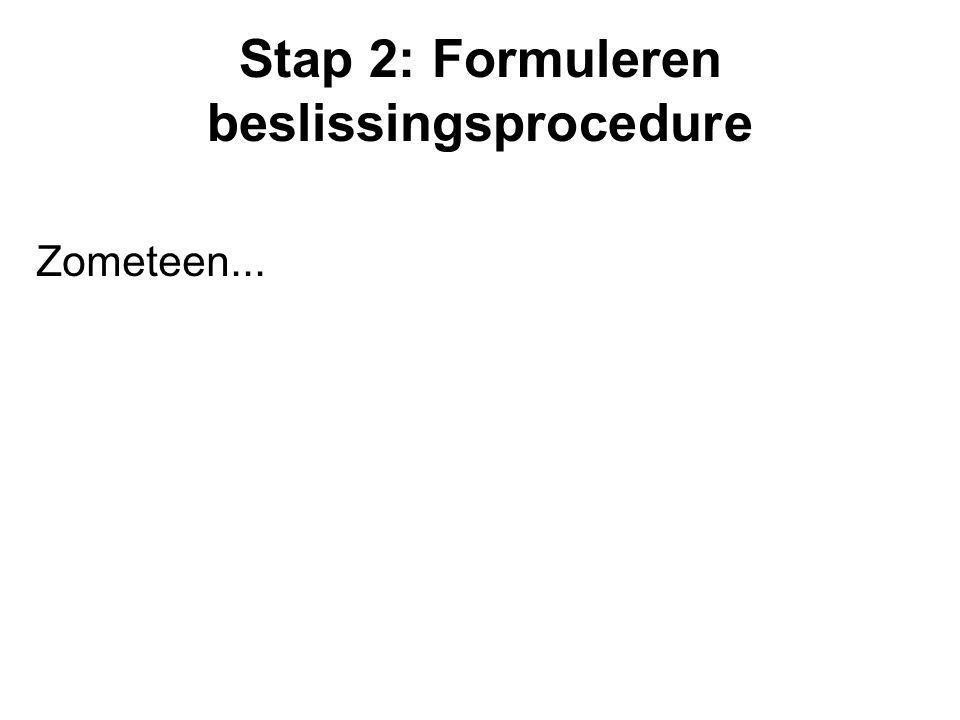 Stap 2: Formuleren beslissingsprocedure