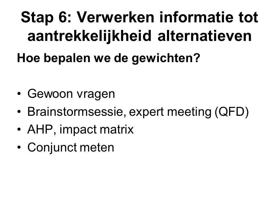 Stap 6: Verwerken informatie tot aantrekkelijkheid alternatieven