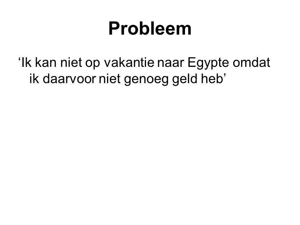 Probleem 'Ik kan niet op vakantie naar Egypte omdat ik daarvoor niet genoeg geld heb'