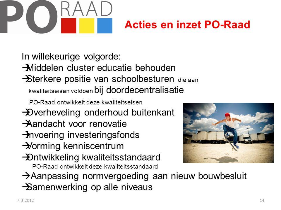 Acties en inzet PO-Raad