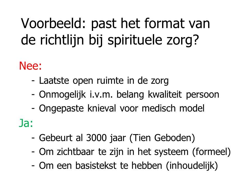 Voorbeeld: past het format van de richtlijn bij spirituele zorg