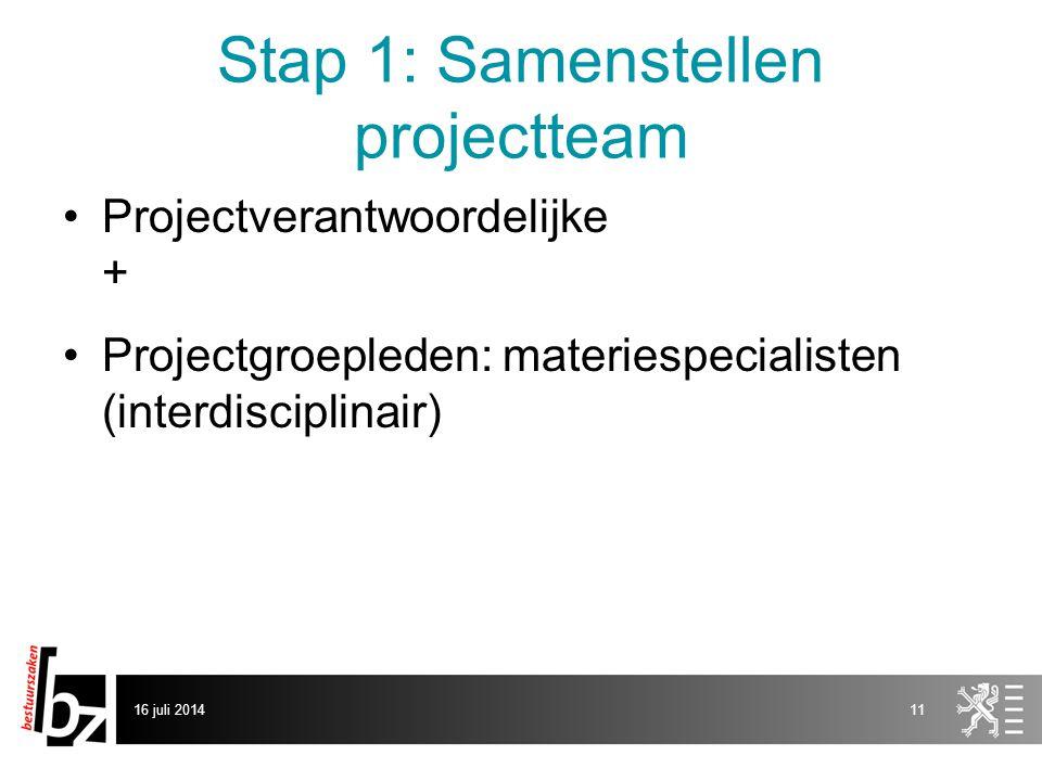 Stap 1: Samenstellen projectteam