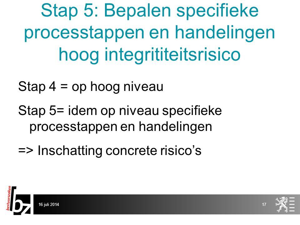 Stap 5: Bepalen specifieke processtappen en handelingen hoog integrititeitsrisico