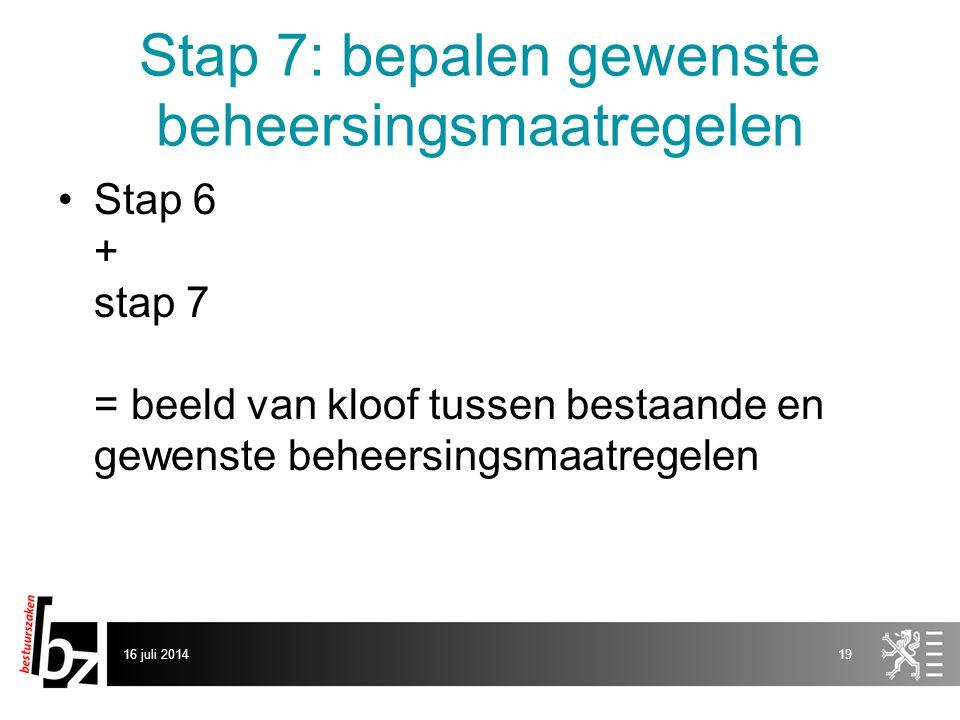 Stap 7: bepalen gewenste beheersingsmaatregelen