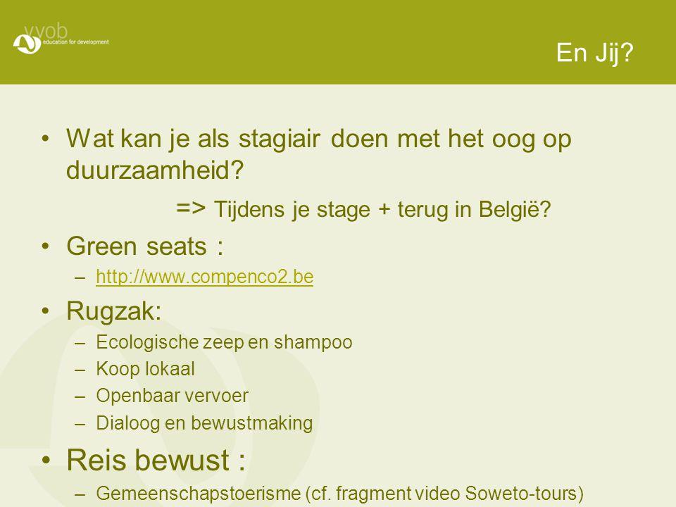 En Jij Wat kan je als stagiair doen met het oog op duurzaamheid => Tijdens je stage + terug in België