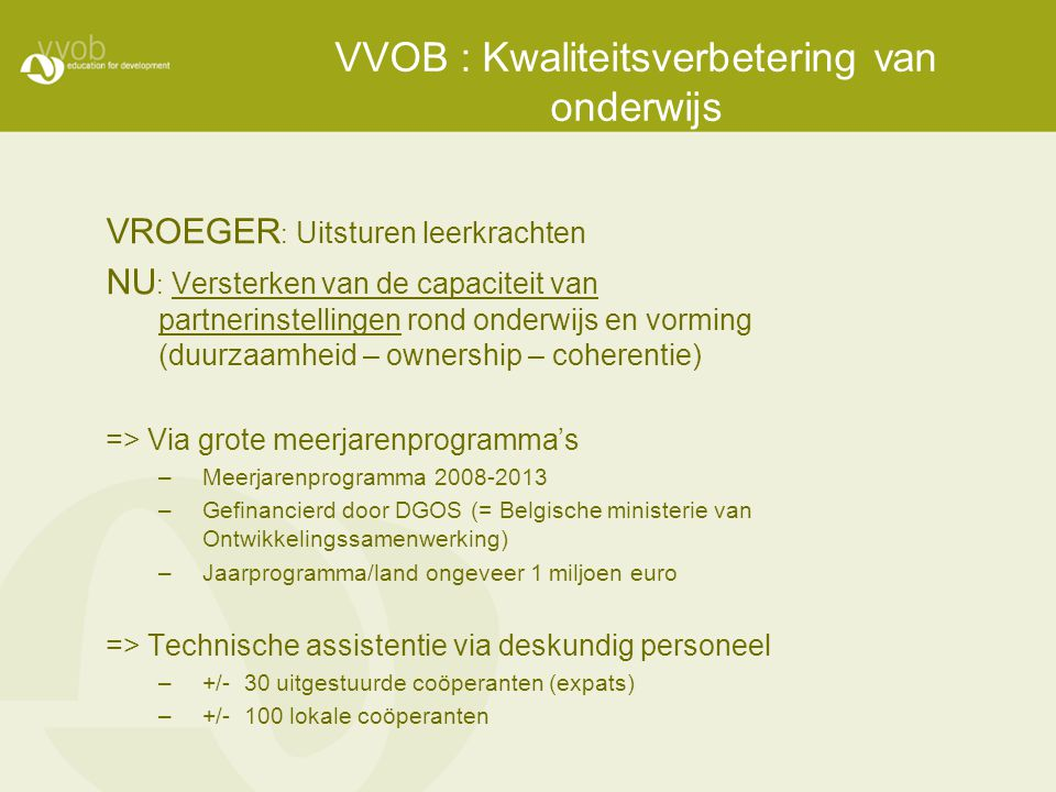 VVOB : Kwaliteitsverbetering van onderwijs