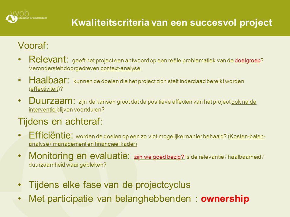 Kwaliteitscriteria van een succesvol project