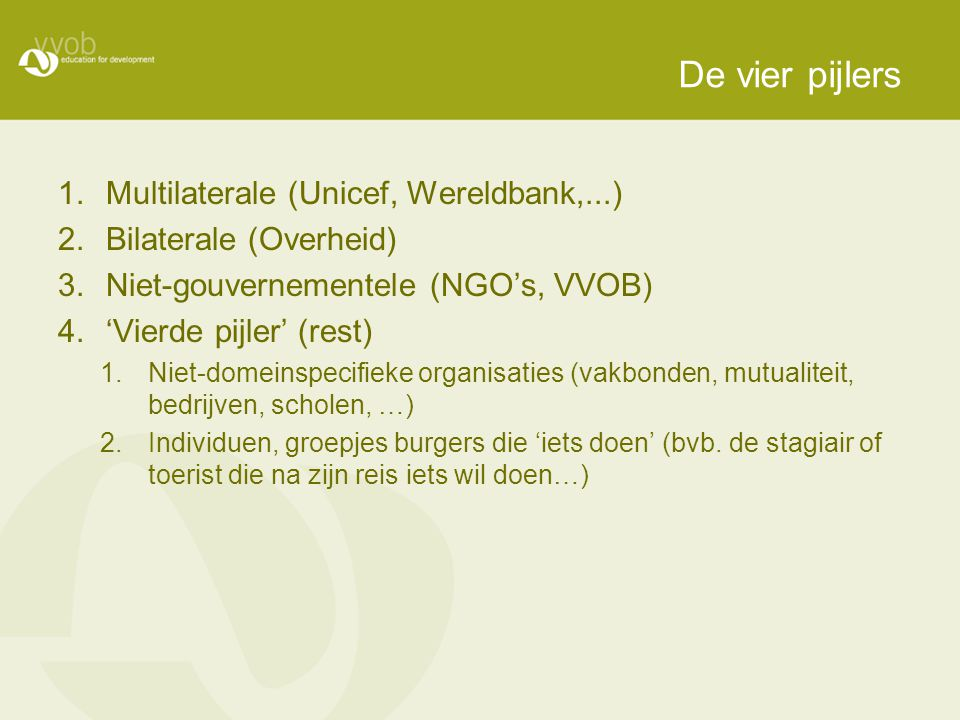 De vier pijlers Multilaterale (Unicef, Wereldbank,...)