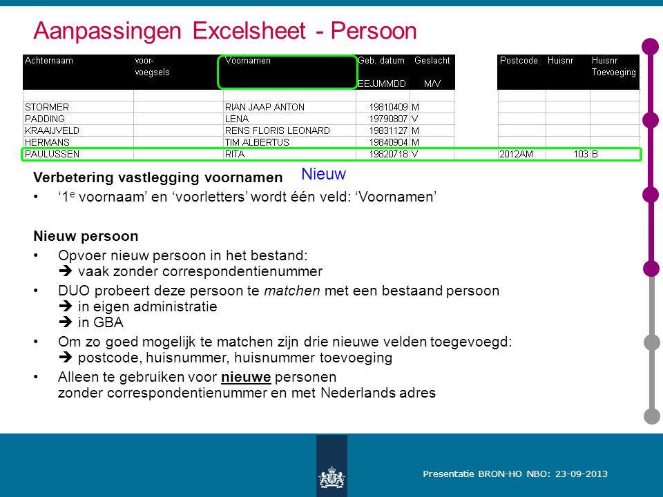 Aanpassingen Excelsheet - Persoon