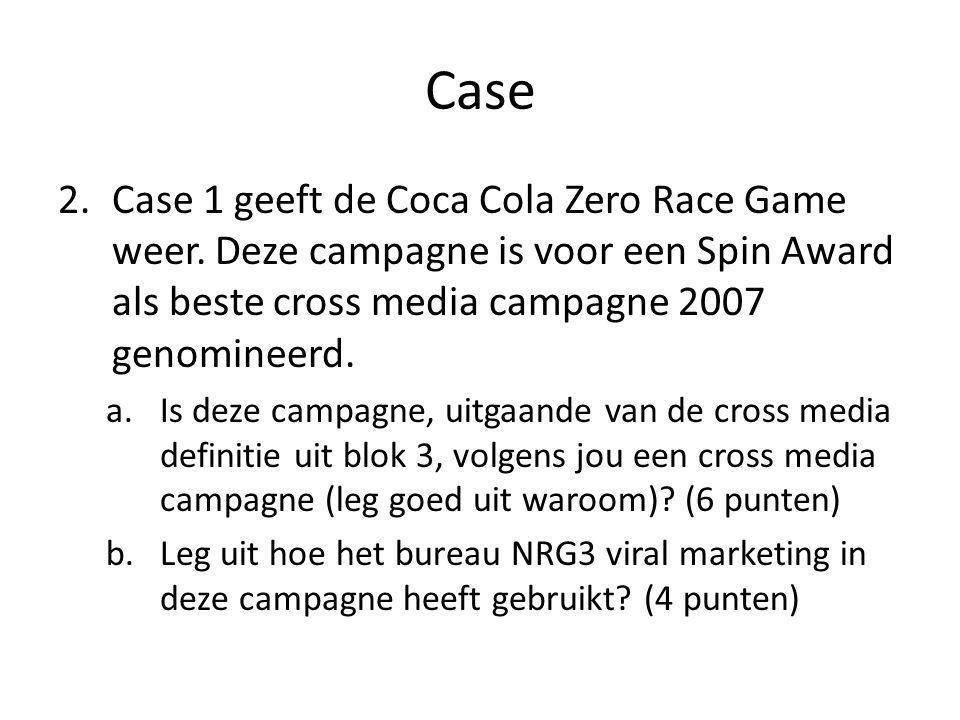 Case Case 1 geeft de Coca Cola Zero Race Game weer. Deze campagne is voor een Spin Award als beste cross media campagne 2007 genomineerd.