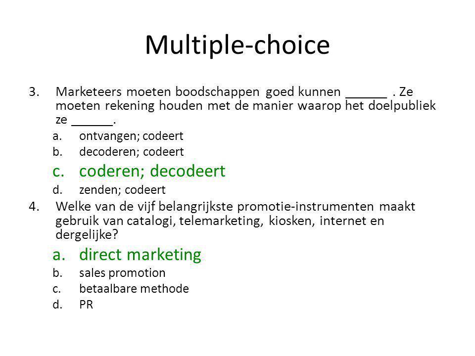 Multiple-choice coderen; decodeert direct marketing