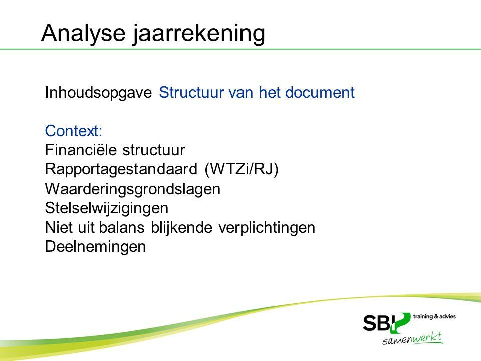 Analyse jaarrekening Inhoudsopgave Structuur van het document Context: