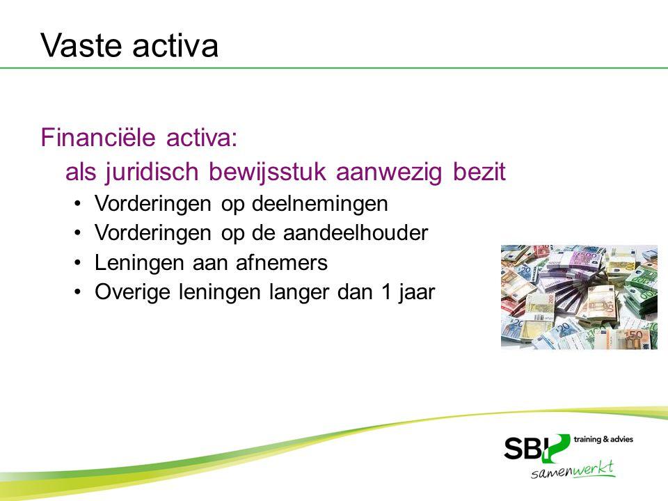 Vaste activa Financiële activa: