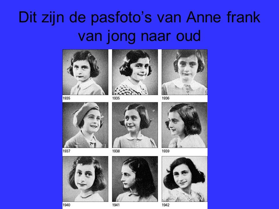 Dit zijn de pasfoto's van Anne frank van jong naar oud