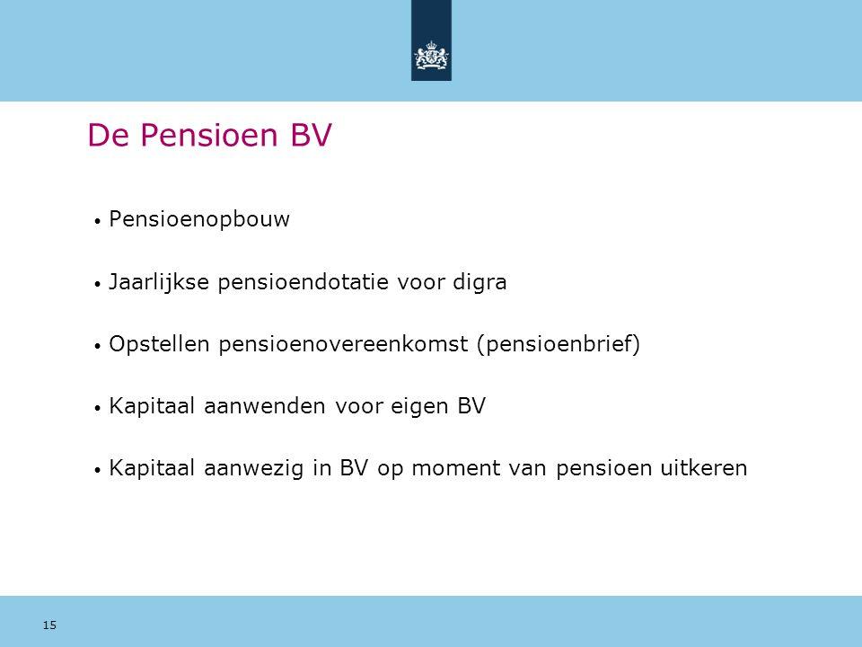 De Pensioen BV Pensioenopbouw Jaarlijkse pensioendotatie voor digra
