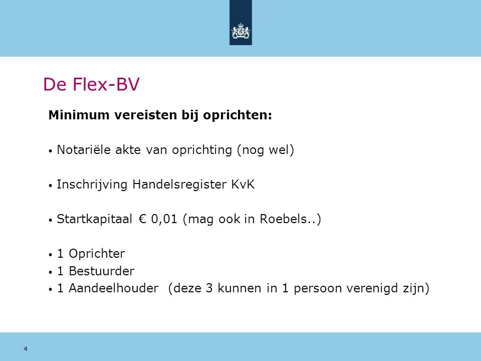 De Flex-BV Minimum vereisten bij oprichten: