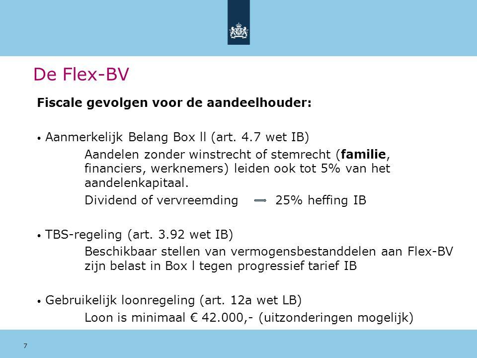 De Flex-BV Fiscale gevolgen voor de aandeelhouder: