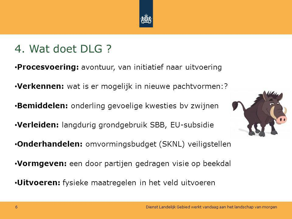 4. Wat doet DLG Procesvoering: avontuur, van initiatief naar uitvoering. Verkennen: wat is er mogelijk in nieuwe pachtvormen: