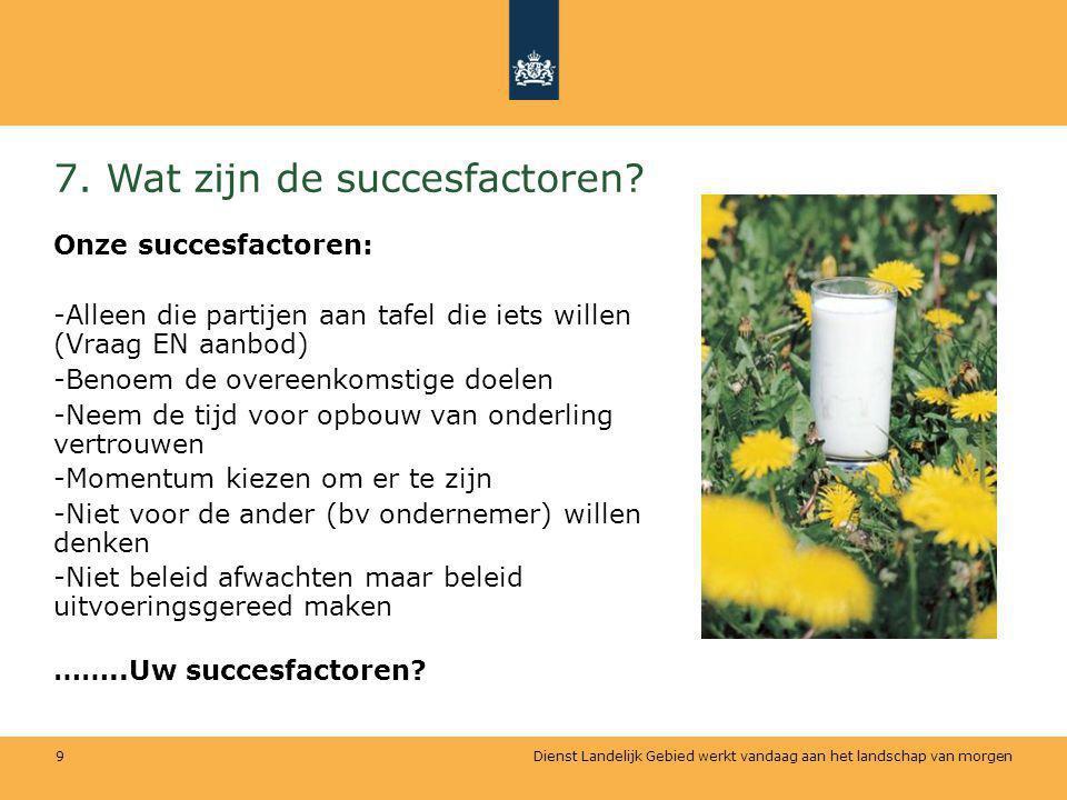 7. Wat zijn de succesfactoren