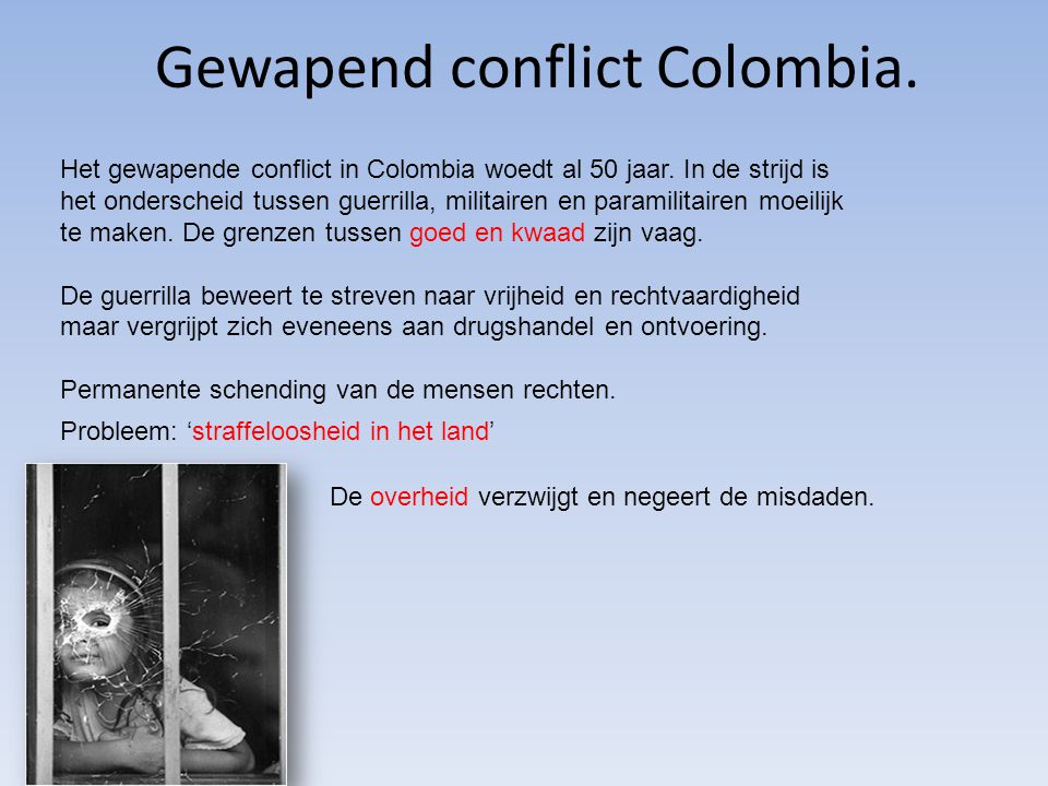 Gewapend conflict Colombia.