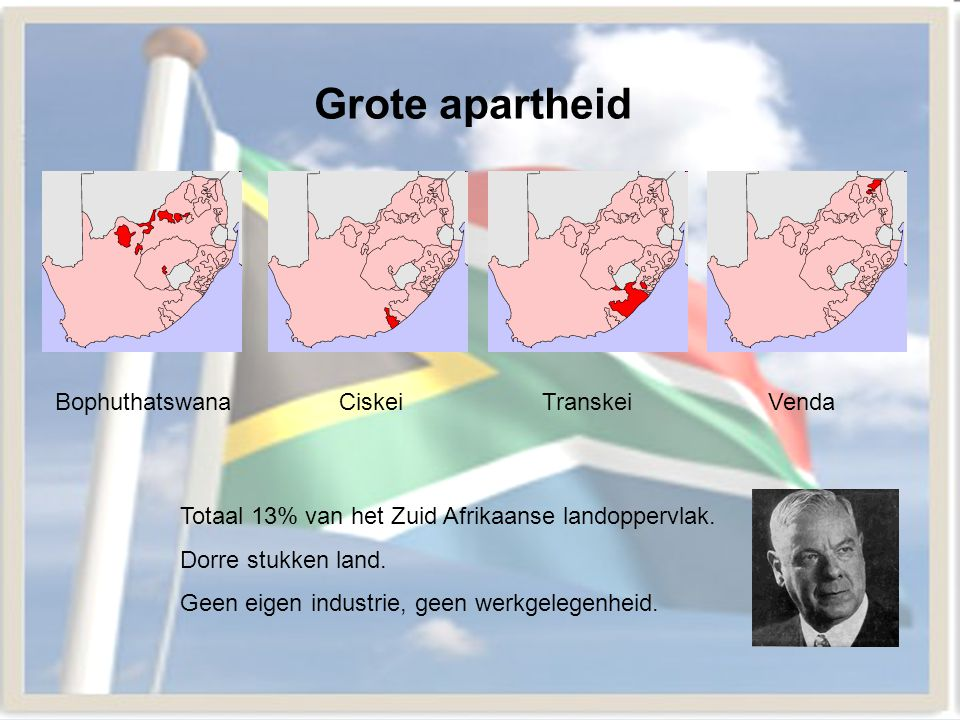 Grote apartheid Bophuthatswana Ciskei Transkei Venda