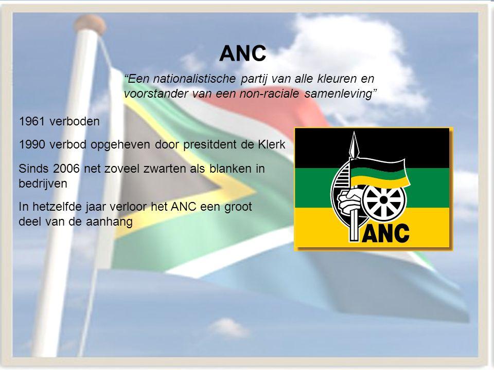 ANC Een nationalistische partij van alle kleuren en voorstander van een non-raciale samenleving 1961 verboden.