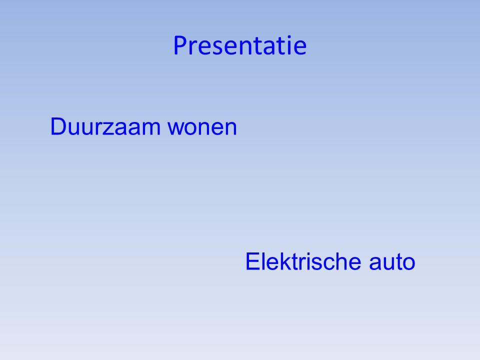 Presentatie Duurzaam wonen Elektrische auto